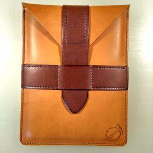 Kindle sleeve in tan and dark brown