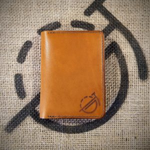 Tailor wallet in tan with mid brown stitching (closed)