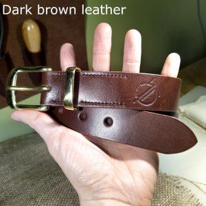 Tunner belt in dark brown with dark brown stitching and brass buckle 3