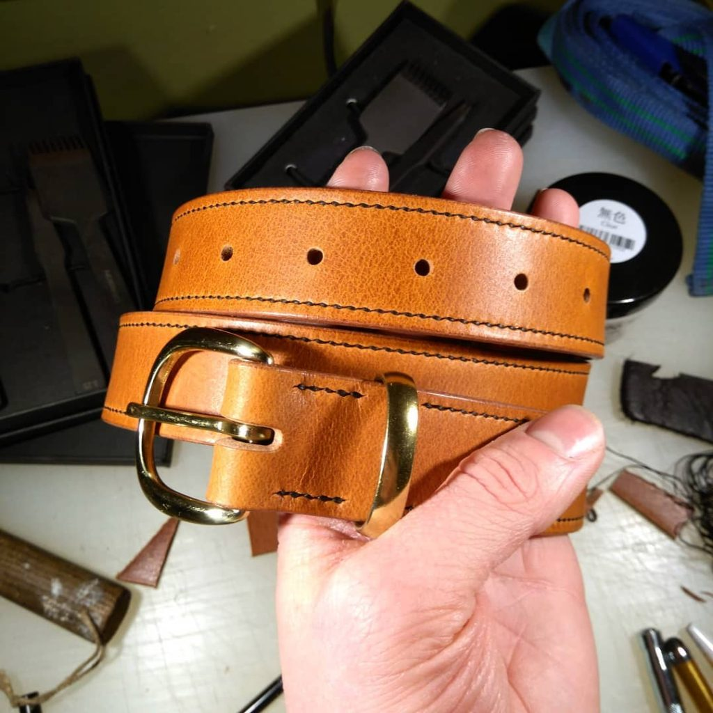 Custom Tunner belt in tan with full length stitch
