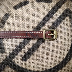 Rascal in dark brown with cream full length stitching